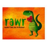Romantic RAWR T-rex Dinosaur Post Card