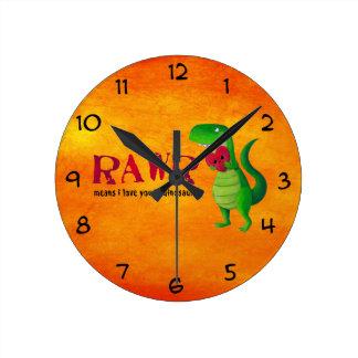 Romantic RAWR T-rex Dinosaur Round Clock