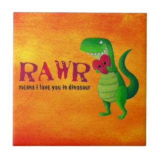 Romantic RAWR T-rex Dinosaur Small Square Tile