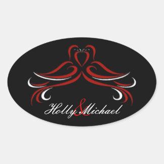 Romantic Red and Black  Dove  Wedding Sticker