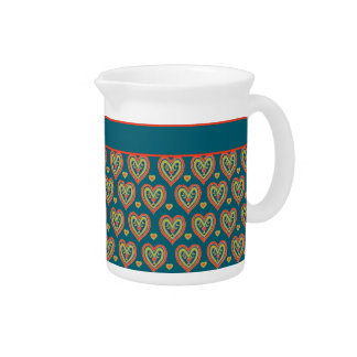 Romantic Red and Green Hearts on Dark Teal Pitcher