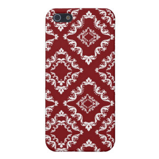 romantic red and white diamond damask pern iPhone 5/5S cover