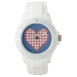 Romantic Red Check Gingham Heart Sporty Wristwatch