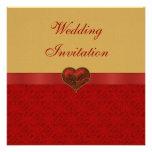 Romantic Red & Gold Heart Wedding Invites