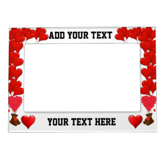 Romantic red heart and bear magnetic picture frame