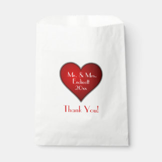 Romantic Red Heart with Name and Wedding Date Favour Bags