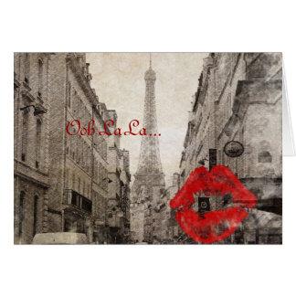 romantic Red lips Kiss I love paris eiffel tower Card