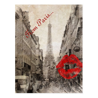 romantic Red lips Kiss I love paris eiffel tower Postcard