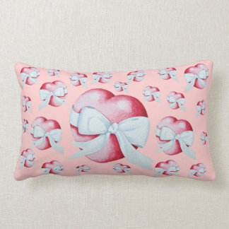 romantic red love heart and white bow cushion
