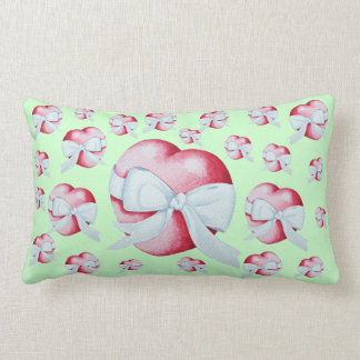 romantic red love heart and white bow cushions
