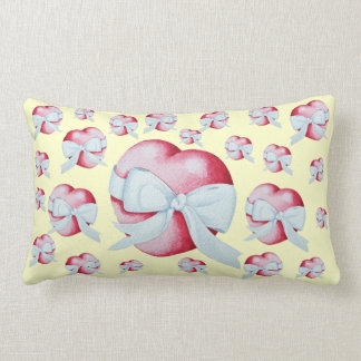 romantic red love heart and white bow throw cushion