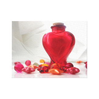Romantic Red Love Heart Bottle Photography Canvas Print