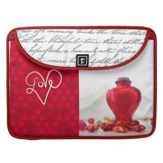 Romantic Red Love Heart Bottle Photography Sleeve For MacBooks