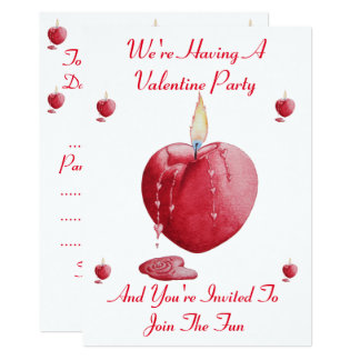 romantic red love heart candle original design card