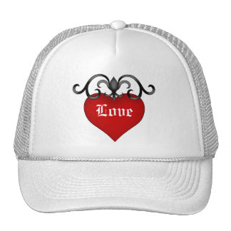 Romantic red love heart gothic medieval style cap