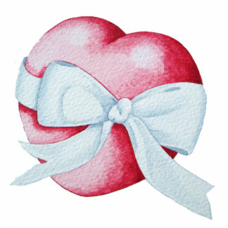 romantic red love heart white bow sculpture pin photo sculpture