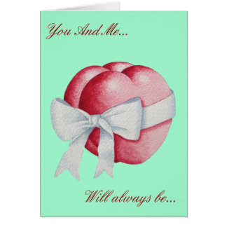 Romantic red love hearts and white bow greeting card