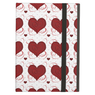 Romantic Red Love Hearts Pattern iPad Air Cover