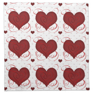 Romantic Red Love Hearts Pattern Napkin