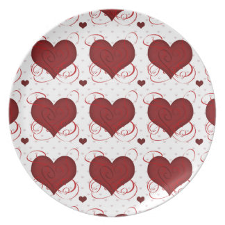 Romantic Red Love Hearts Pattern Plate