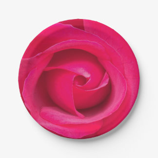 Romantic Red Pink Rose 7 Inch Paper Plate