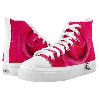 Romantic Red Pink Rose High Tops