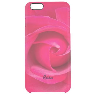 Romantic Red Pink Rose Personalized Clear iPhone 6 Plus Case