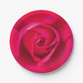 Romantic Red Pink Rose v2 7 Inch Paper Plate