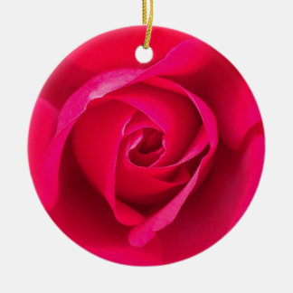 Romantic Red Pink Rose v2 Round Ceramic Decoration