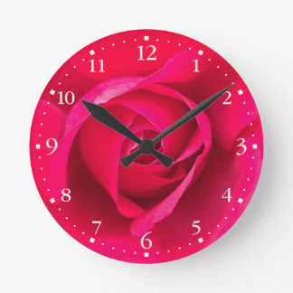 Romantic Red Pink Rose v2 Round Clock