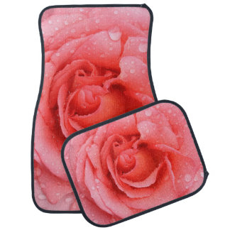 Romantic Red Pink Rose Water Drops Car Mat