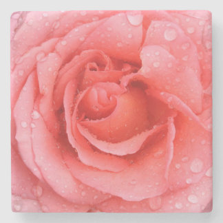 Romantic Red Pink Rose Water Drops Stone Coaster