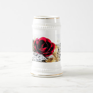 Romantic red rose and white lace beer stein