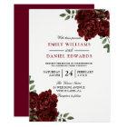 Romantic Red Rose Burgundy Elegant Wedding Invitation