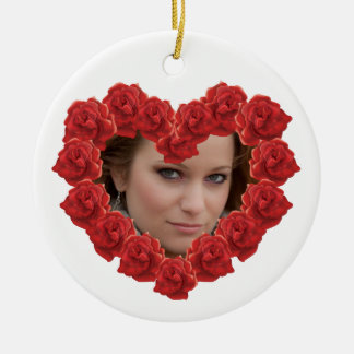 Romantic Red rose custom photo Red roses custom ph Round Ceramic Decoration