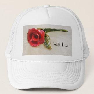 romantic red rose hat