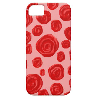 Romantic red rose pattern. On Pink. iPhone 5 Case