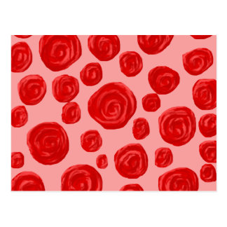 Romantic red rose pattern. On Pink. Postcard