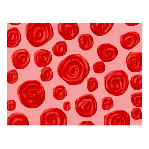 Romantic red rose pattern. On Pink. Post Card