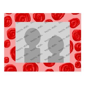 Romantic red rose pattern. On Pink. Postcard