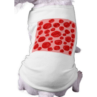 Romantic red rose pattern. On Pink. Sleeveless Dog Shirt