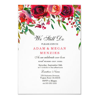 Romantic Red Rose Wedding Vow Renewal Invite
