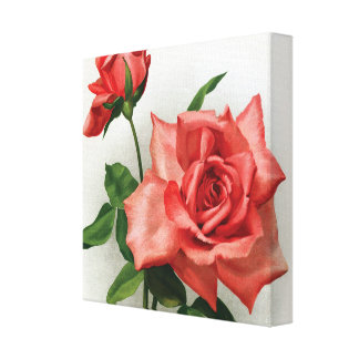 Romantic red rose wrapped canvas