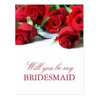 Romantic Red Roses Bridesmaid Postcard