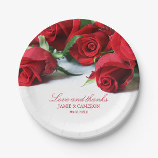 Romantic Red Roses Custom Names Wedding Paper Plate
