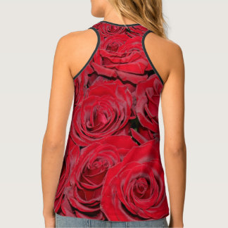 Romantic Red Roses Love Flowers, Floral Tank Top