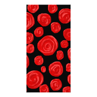 Romantic red roses on black background. Custom Photo Greeting Card