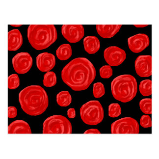 Romantic red roses on black background. Custom Postcard