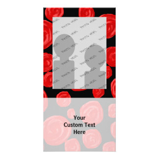 Romantic red roses on black background. customised photo card