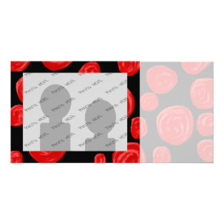 Romantic red roses on black background. photo greeting card